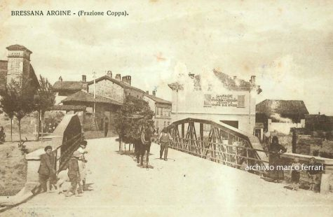 [1921] Ponte sul torrente Coppa attraversato da asino con carretto